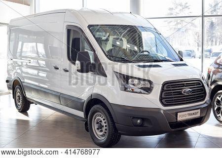 Russia, Izhevsk - February 17, 2021: Ford Showroom. New Transit Van In The Dealer Showroom. Famous W