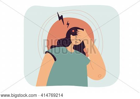 Sad Woman Suffering From Headache. Tired Female With Migraine, Pain, Stress From Work Flat Vector Il