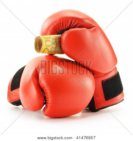 Pair of red leather boxing gloves and euro banknotes isolated on white background poster