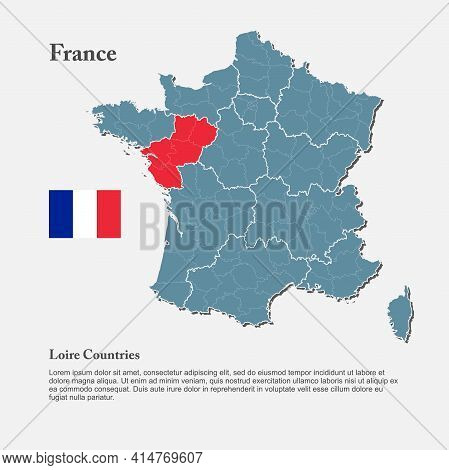 Vector Map Europe Country France, Loire Countries
