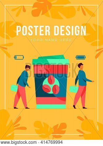 Man Getting Energy From Cup Of Coffee. Caffeine Addicted Guy With Disposal Cup. Vector Illustration