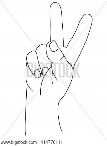 Hand Gesture. The Mans Hand Shows Two Fingers. Gesture Number Two Or Gesture V Is Victory. Vector Dr