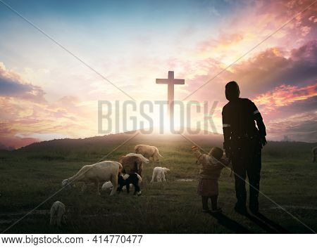 Easter Concept: Parents And Children Worship On The Cross Background
