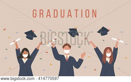Graduated Students Throwing A Cap And Celebrating University Graduation. Young Former Pupils In Acad