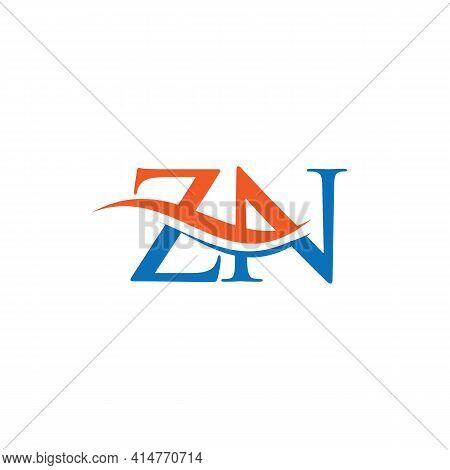 Zn Logo Design Vector. Swoosh Letter Zn Logo Design