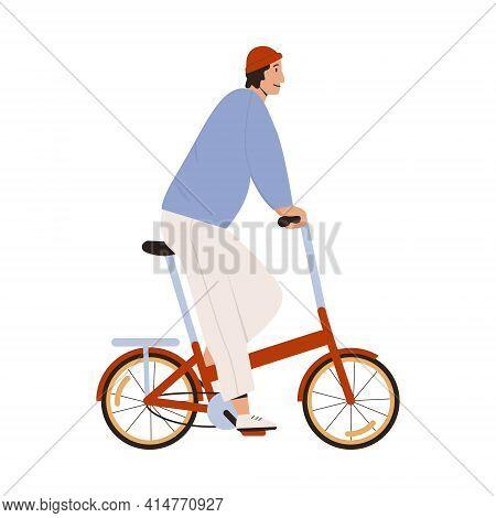 Stylish Man Riding Street Folding Bicycle Vector Flat Illustration. Trendy Looking Male Ride On Urba