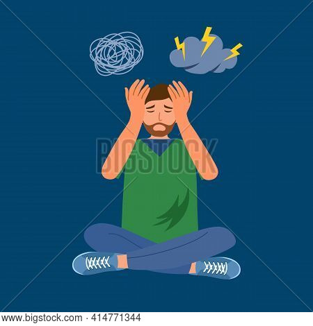 Anxious Man Feeling Sad And Stress Sitting On The Floor In Flat Design. Guy Worries About His Proble