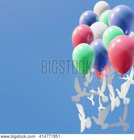 Composition Of Balloons With Pigeons Clipped From Paper, Tied To Balloons Over Blue Sky Background W