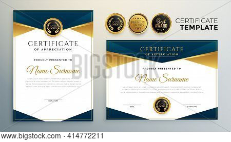 Golden Certificate Award Template For Multipurpose Use