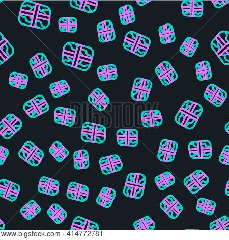 Line Package With Cocaine Icon Isolated Seamless Pattern On Black Background. Health Danger. Vector