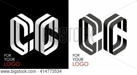 Isometric Letter C In Two Perspectives. From Stripes, Lines. Template For Creating Logos, Emblems, M