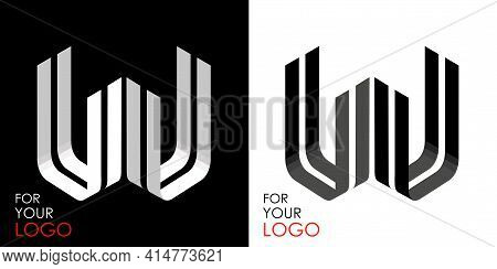 Isometric Letter U In Two Perspectives. From Stripes, Lines. Template For Creating Logos, Emblems, M