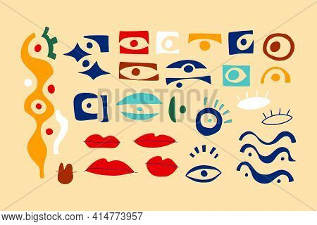 Eye Abstract Collection, Geometric Shapes In Contemporary Style. Vector Set With Look, Eyes, Lips In