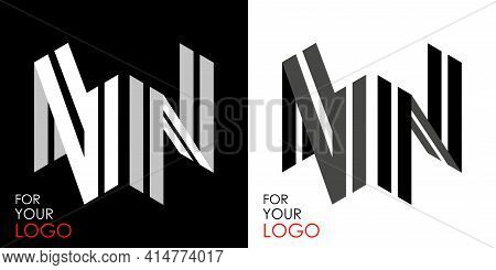 Isometric Letter N In Two Perspectives. From Stripes, Lines. Template For Creating Logos, Emblems, M