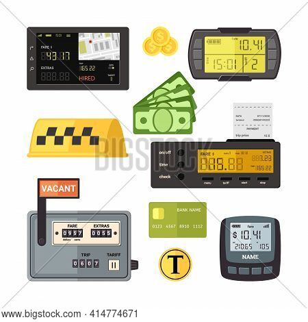 Digital And Mechanical Taximeters Set. Counter With Yellow Screen Number Of Kilometers And Cost Trav