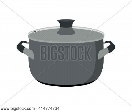 Stainless Steel Pan. Metal Cooking Pot. Kitchen Utensil Mockup. Cookware For Cooking Food. Vector Il