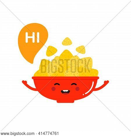 Smiling Cartoon Style Nacho Chips, Tortilla Chips Red Bowl Character With Speech Bubble Saying Hi, H