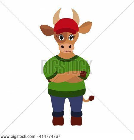 Cute Bull In A Cap. Taurus Zodiac Sign.