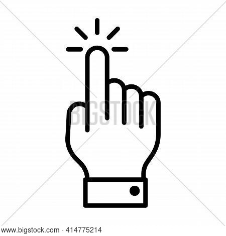 Click Hand Or Cursor Thin Line Icon In Black. Tap Or Touch Sign. Simple Pointer Gesture Of Mouse. Fl