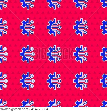 Blue Algorithm Icon Isolated Seamless Pattern On Red Background. Algorithm Symbol Design From Artifi