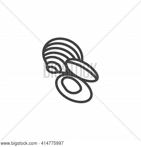 Clam Shell Line Icon. Linear Style Sign For Mobile Concept And Web Design. Mussels Seafood Outline V