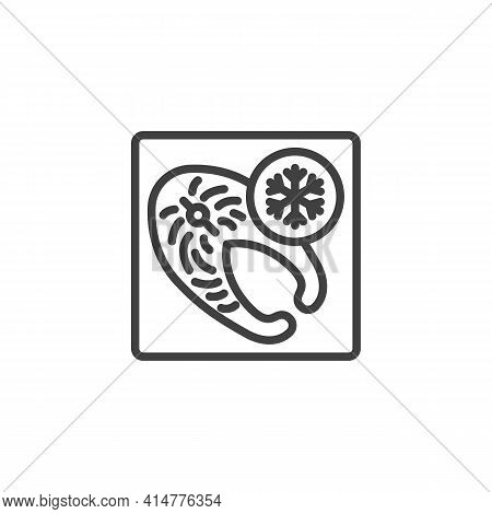 Frozen Fish Steak Line Icon. Linear Style Sign For Mobile Concept And Web Design. Frozen Fish Packag