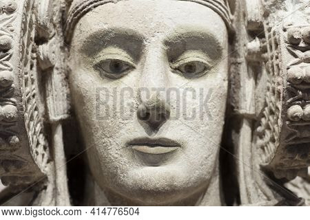 Spain, Madrid - March 6th, 2021: Lady Of Elche, Most Important Piece Of Iberian Art. Closeup