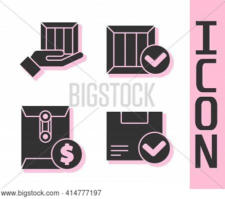 Set Package Box With Check Mark, Delivery Hand With Boxes, Envelope With Dollar Symbol And Wooden Bo
