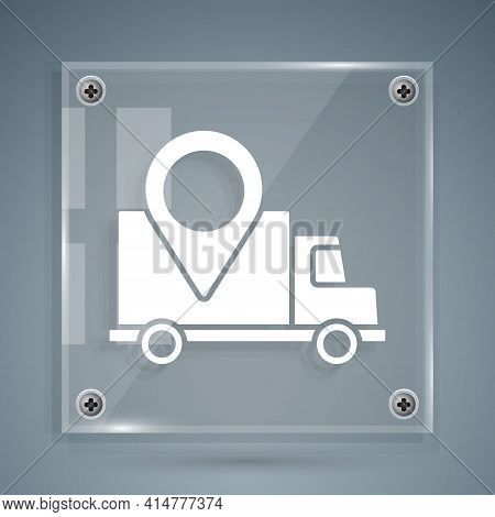 White Delivery Tracking Icon Isolated On Grey Background. Parcel Tracking. Square Glass Panels. Vect