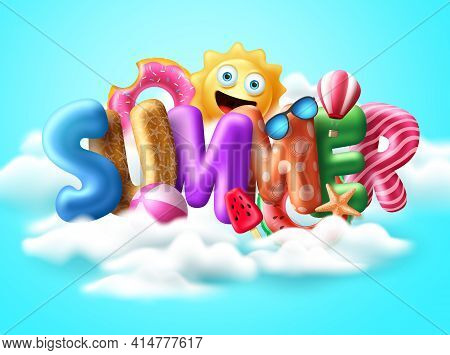 Summer 3d Text Balloon Vector Banner Design.  Summer Balloons With Colorful Beach Elements  Like Flo