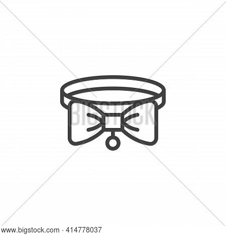 Pet Collar Line Icon. Linear Style Sign For Mobile Concept And Web Design. Cat Collar With Bow Outli