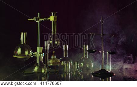 Fantastic Chemical Laboratory With Smoke Effect On Dark Background
