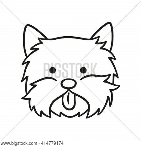 Cute Yorkshire Terrier Face. Dog Head Icon. Hand Drawn Isolated Vector Illustration In Doodle Style