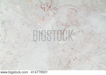 Natural Gray Marble Texture With Red Veins, Front View. Close-up Background Photo