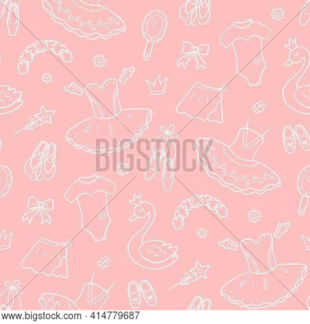 Seamless Pattern For Little Ballerina With Ballet Accessories. Hand Drawn Tutu, Pointes, Ballet Dres