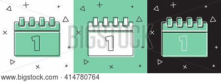 Set Calendar With First September Date Icon Isolated On White And Green, Black Background. September