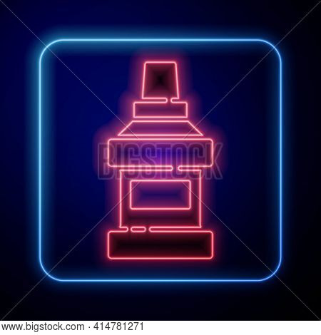 Glowing Neon Mouthwash Plastic Bottle Icon Isolated On Blue Background. Liquid For Rinsing Mouth. Or