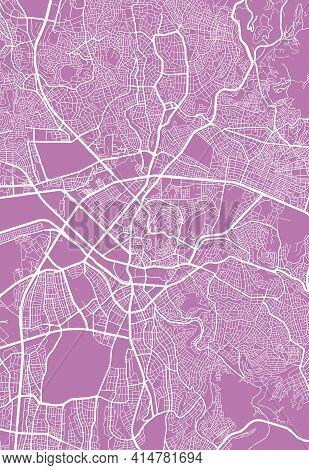 Vector Map Of Ankara, Turkey, State Of Turkey. Street Map Poster Illustration. Ankara Map Art.