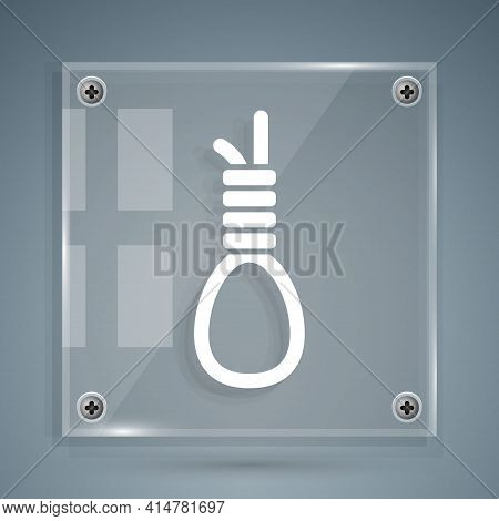 White Gallows Rope Loop Hanging Icon Isolated On Grey Background. Rope Tied Into Noose. Suicide, Han
