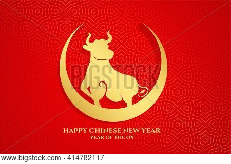 Happy Chinese New Year Of Ox On Crescent Moon Vector