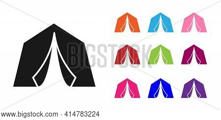 Black Tourist Tent Icon Isolated On White Background. Camping Symbol. Set Icons Colorful. Vector