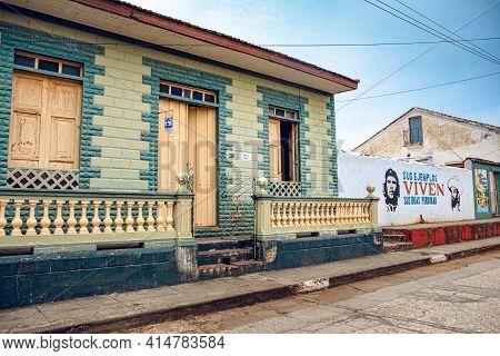 Baracoa, Cuba - October 25, 2019:  House Facade (casa Particular/privte Accommodation) In Baracoa Wi