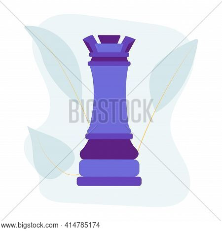 Rook Chess Piece. Vector Flat Colorful Isolated Illustration. Abstract Blue Stain And Leaves On Back