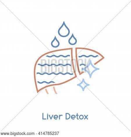 Liver Detox Icon. Linear Medical Pictogram. Vector Illustration