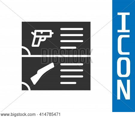Grey Weapon Catalog Icon Isolated On White Background. Police Or Military Handgun. Small Firearm. Ve