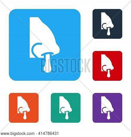 White Runny Nose Icon Isolated On White Background. Rhinitis Symptoms, Treatment. Nose And Sneezing.