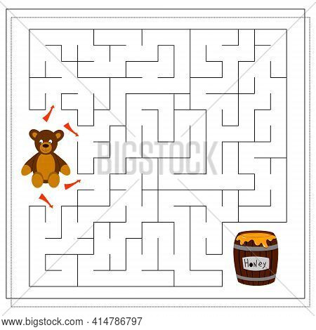 A Maze Game For Kids. Guide The Bear Through The Maze To The Honey Barrel. Vector Isolated On A Whit