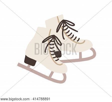 Pair Of Female Ice Skates. Hockey Shoes With Tied Shoelaces. Winter Sport Icon. Colored Flat Vector