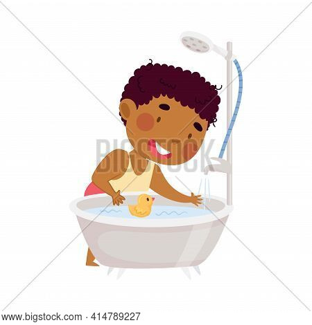 Little African American Boy Running Water Into Tub For Taking Bath In Bathroom Vector Illustration