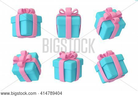 Set Of Gift Boxes With Ribbon And Bow Isolated On White. 3d Rendering With Clipping Path